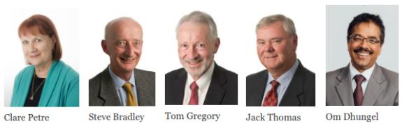 Clare Petre, Steve Bradley, Tom Gregory, Jack Thomas, Om Dhungel
