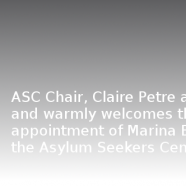 ASC Chair, Claire Petre has today announced and warmly welcomes the appointment of Marina Brizar to the ASC board