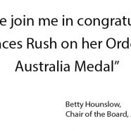 Frances Rush awarded the Medal of the Order of Australia