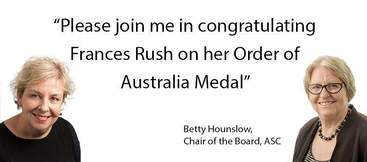 Frances Rush awarded the Medal of the Order of Australia